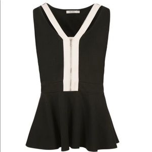 Ricki's Black and White Cut-out Neck Peplum